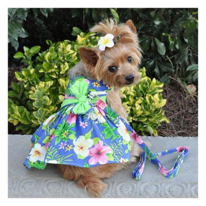 Dog Dresses - Dog Dress Blue Lagoon Hawaiian Hibiscus With Matching Leash