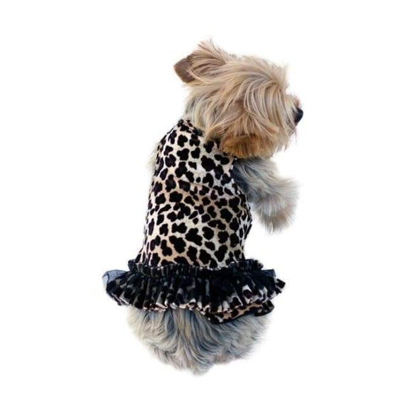 Dog Dresses - Dog Dress Brown Leopard Movie Star Velvet Tutu Dress