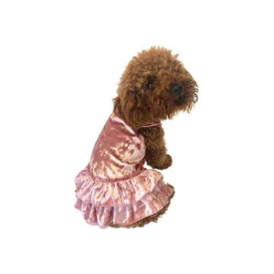 Dog Dresses - Dog Dress Crushing On You Metallic Velvet Dog Dress Blush