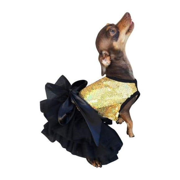 Dog Dresses - Dog Dress Fufu Tutu Gold Stardust