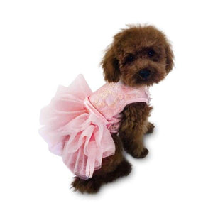 Dog Dresses - Dog Dress Fufu Tutu Irredescent Lace Rose Gold