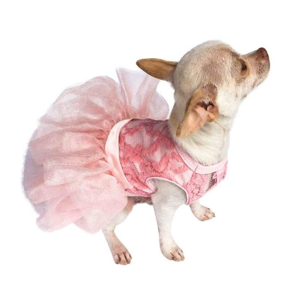 Dog Dresses - Dog Dress Fufu Tutu Lace Pink