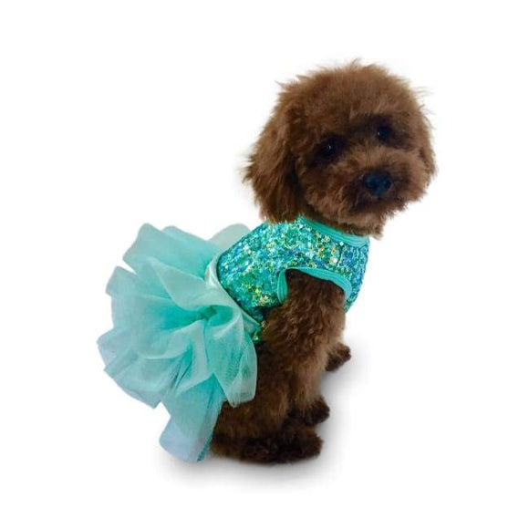Dog Dresses - Dog Dress Fufu Tutu Over The Top Tricolor Sequins Seafoam