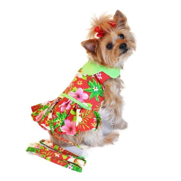 Dog Dresses - Dog Dresses Boutique Hawaiian Red Hibiscus Colorful Dog Dress