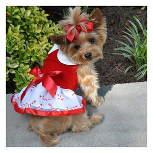 Dog Dresses - Dog Dresses Candy Canes Christmas Dog  Harness Dress With Matching Leash