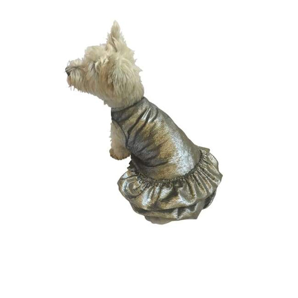 Dog Dresses - Dog Dresses Crushing On You Metallic Silver