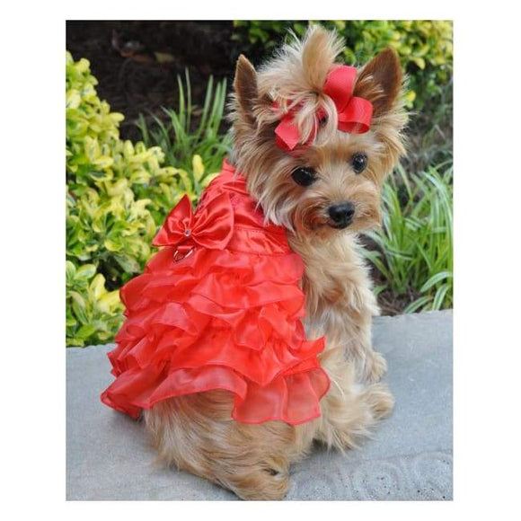 Dog Dresses - Dog Dresses Dog  Red Satin Harness Dress With Matching Leash
