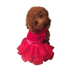 Dog Dresses - Dog Dresses Fufu Tutu Holiday Party Girl Red Velvet