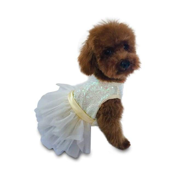 Dog Dresses - Dog Dresses Fufu Tutu Hollywood Hologram Ivory Sequins