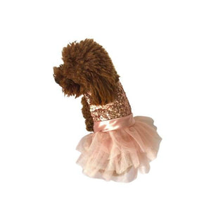 Dog Dresses - Dog Dresses Fufu Tutu Marilyn Dog Dress Rose Gold Sequins
