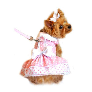 Dog Dresses - Dog Dresses Polka Dot And Lace Set With Leash Pink