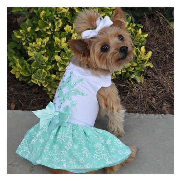 Dog Dresses - Dress Boutique Turquoise Crystal Dog Dress With Matching Leash