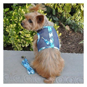 Dog Harness - Cool Mesh Dog Harness Ukulele Blue Hibiscus Dog Parents Online