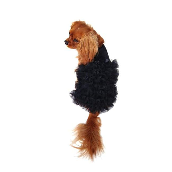 Dog Harness - Dog Dress Red Carpet Ruffle Black,