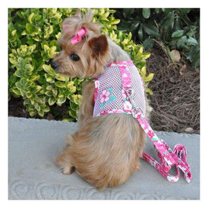 Dog Harness - Doggie Design Pink Hibiscus Dog Harness With Matching Leash