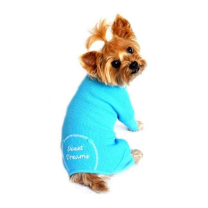 Dog Pajamas - Dog Pajamas Sweet Dreams Thermal Dog Pajamas Blue