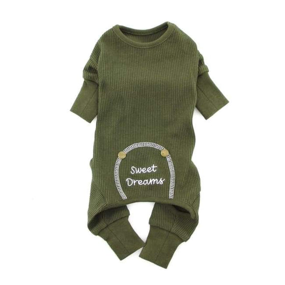 Dog Pajamas - Dog Pajamas Sweet Dreams Thermal Dog Pajamas Herb Green