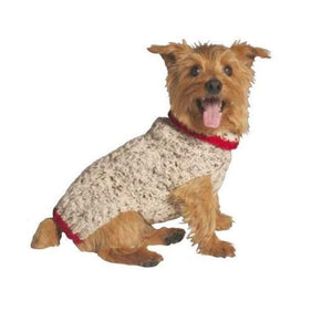 Warm Dog Sweaters - Dog Dress Oatmeal Cable Knit With Red Trim