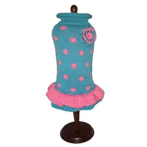 Warm Dog Sweaters - Dog Dresses Turquoise Pink Polka Dot Party Dress
