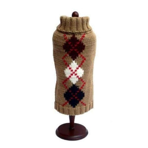 Warm Dog Sweaters - Dog Sweaters Brown Argyle