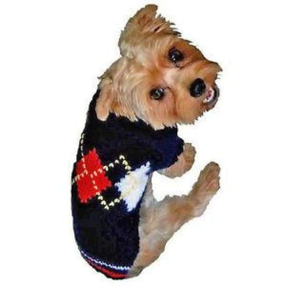 Warm Dog Sweaters - Dog Sweaters Red Argyle Sweater