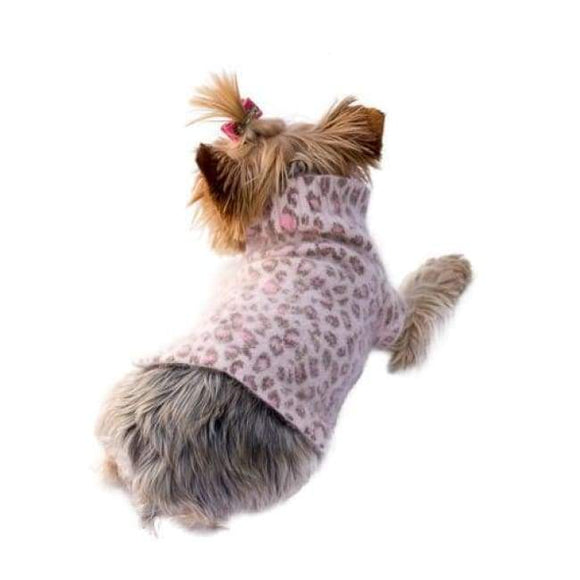 Warm Dog Sweaters - Light Pink Leopard Moviestar Mock Neck