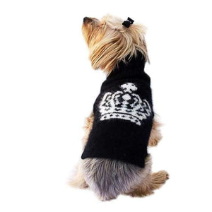 Warm Dog Sweaters - Luxury Diana Black And White Crown Turtleneck With Rhinestones Xxs