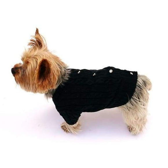 Warm Dog Sweaters - Warm Dog Sweater Cannes Button Back Cardigan Black