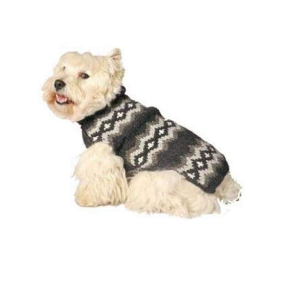 Warm Dog Sweaters - Warm Dog Sweater Gray Diamonds Dog Sweater