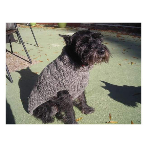 Warm Dog Sweaters - Warmest Dog Sweater Gray Cable