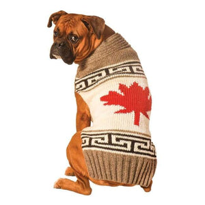 Warm Dog Sweaters - Warmest Dog Sweater Grey Canadian Maple Leaf Dog Sweater