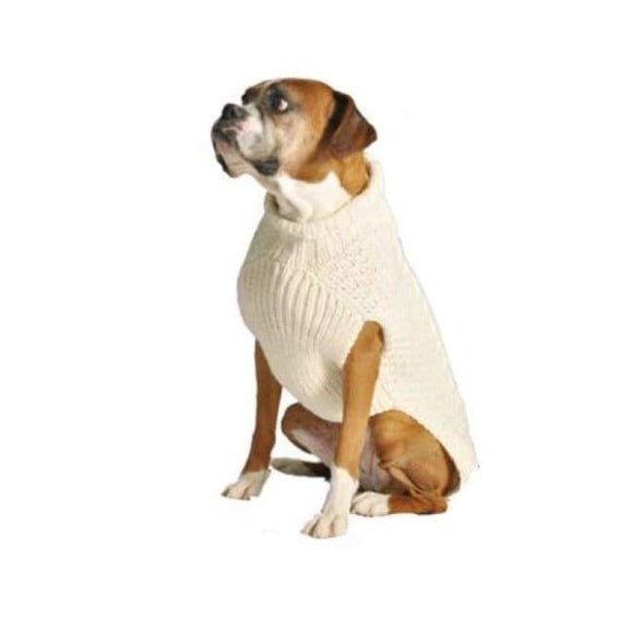 Warm Dog Sweaters - Warmest Dog Sweater Natural Cable Wool