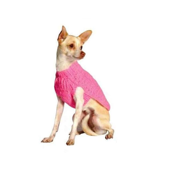 Warm Dog Sweaters - Warmest Dog Sweater Pink Cable Wool Dog Sweater