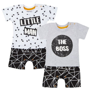 Baby Boys Romper- Little Man/The Boss, Romper, Mini Kidz - karacentral