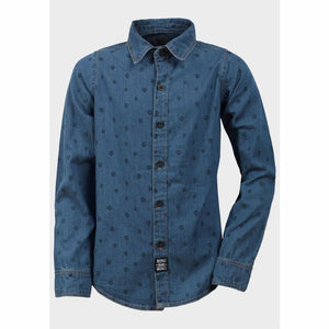 Boys Skull Print Denim Shirt, Shirt, Respect - karacentral
