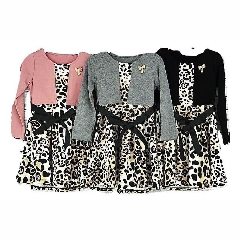 Girls Bolero Style Leopard Print Dress, Long Sleeve Dress, Dr Moda - karacentral