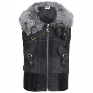 Girls Checked Faux Fur Gilet Body Warmer Gilet/body