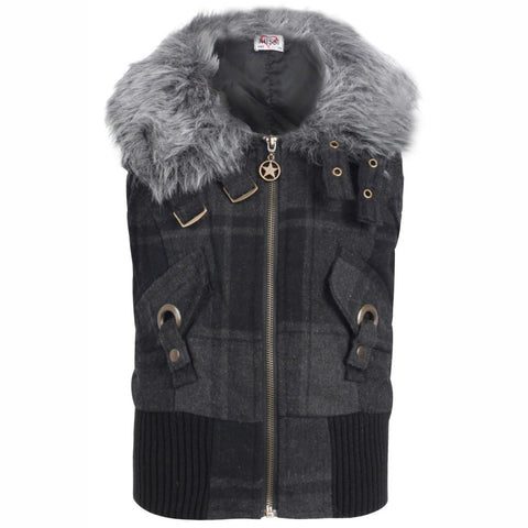 Girls Checked Faux Fur Gilet Body Warmer, Gilet/Body Warmer, Missi Kids - karacentral