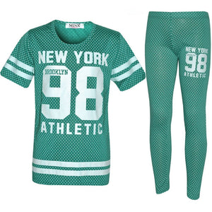 Girls Green 'NEW YORK 98' 2PC Set (7-8yrs), Outfits & Sets, Minx London - karacentral