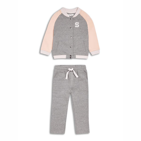 Girls Grey Varsity Tracksuit (3-14Yrs) 3-4 Years