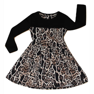 Girl's Leopard Print Long Sleeve Dress, Long Sleeve Dress, Unbranded - karacentral