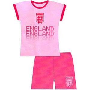 Girls Official England Pink Pyjamas Short Pjs