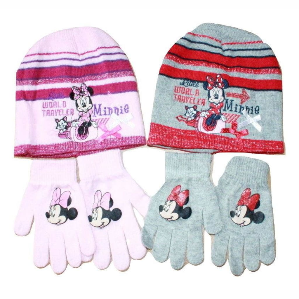 9deb96a2f6d karacentral - Girls Official Minnie Mouse Beanie Hat And Gloves Set