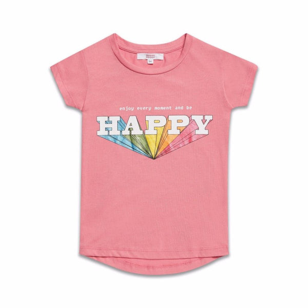 Girls Pink Rainbow Prism 'Happy' T Shirt (2-8yrs), T-Shirts & Tops, Sugar Squad - karacentral