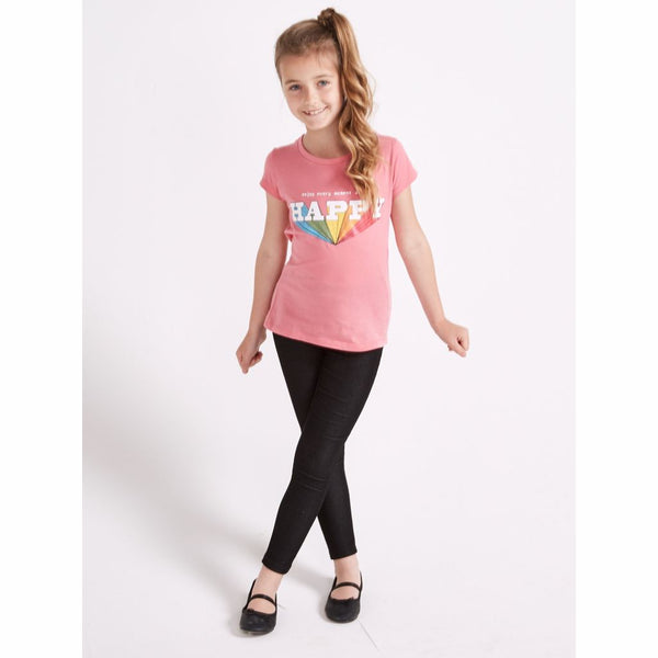 Girls Pink Rainbow Prism Happy T Shirt (2-8Yrs) T-Shirts & Tops