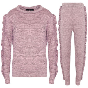 Girls Ruffle Lounge Wear Tracksuit Loungewear/