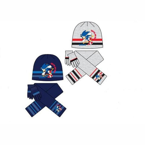 Kids Sonic The Hedgehog Winter Hat, Scarf And Gloves Set, 3PC Hat, Scarf And Gloves, Sega - karacentral