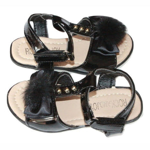 Toddler Girls Black Pom Pom Sandals, Sandals, Rock And Joy - karacentral