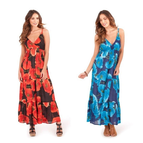 Womens Poppy Print Summer Maxi Dress, Summer Maxi Dress, Pistachio - karacentral