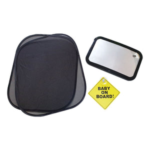 Travel Set - Sun Shades, Backseat Mirror & Baby on Board Sign
